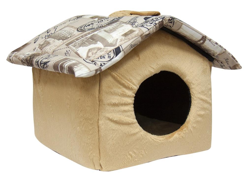 Домик для кошек и собак Зооник Тревел с крышей, бежевый, 37x38x31см фото