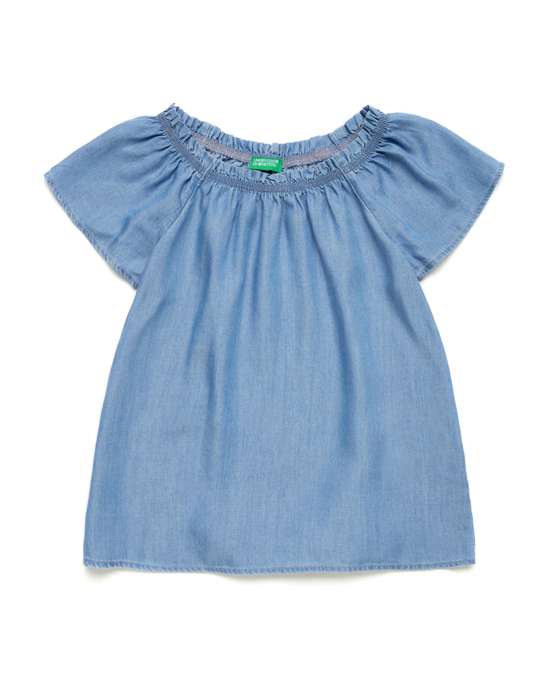 Купить 20P_5DRQ5QH50_901, Блуза для девочек Benetton 5DRQ5QH50_901 р-р 128, United Colors of Benetton, Блузки для девочек