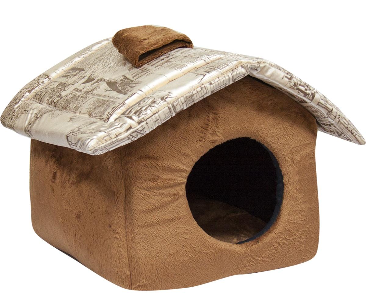 Домик для кошек и собак Зооник Милано с крышей, бежевый, 37x38x31см фото