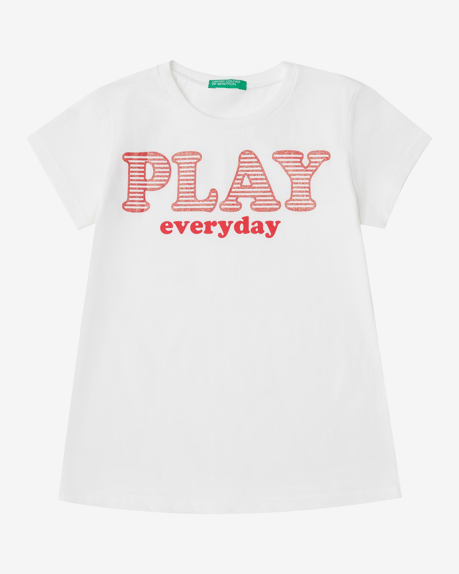 Купить 20P_3096C14MO_101, Футболка для девочек Benetton 3096C14MO_101 р-р 110, United Colors of Benetton, Футболки для девочек