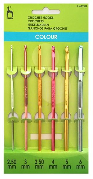 Набор цветных вязальных крючков, 6 штук, 2,5-6 мм, 15 см, алюминий