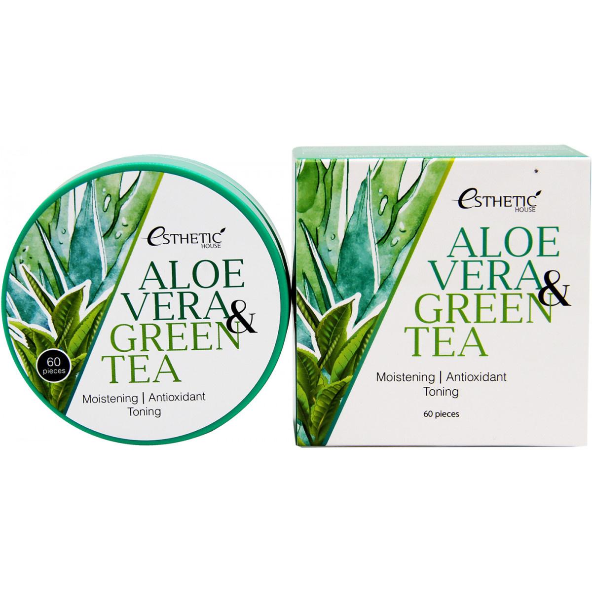 Гидрогелевые патчи Esthetic House Aloe Vera & Green Tea Hydrogel Eye Patch 60 шт фото