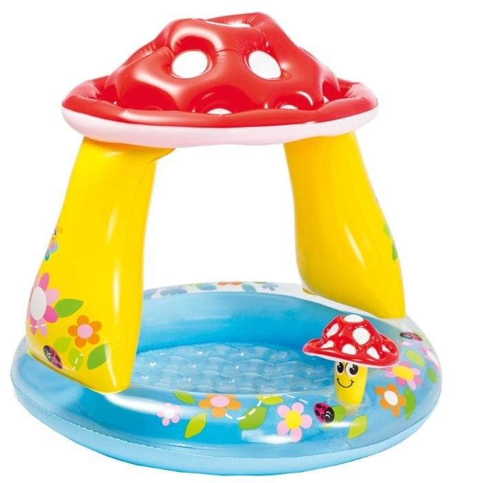 Детский надувной бассейн Intex «Гриб», с надувным дном,102х89 см,45л, 57114