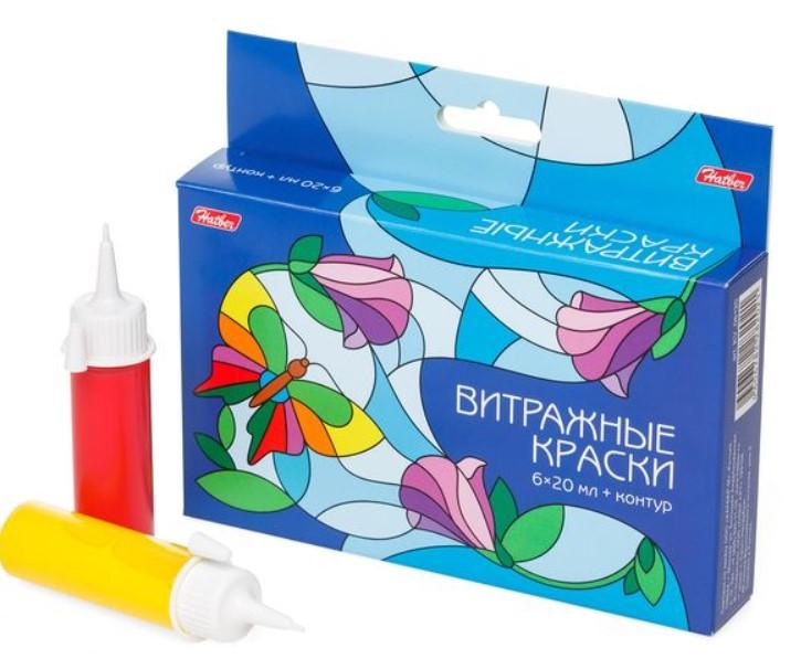 Купить Витражные краски Hatber, 6 цветов по 20 мл Hatber KV_06120, Пальчиковые краски