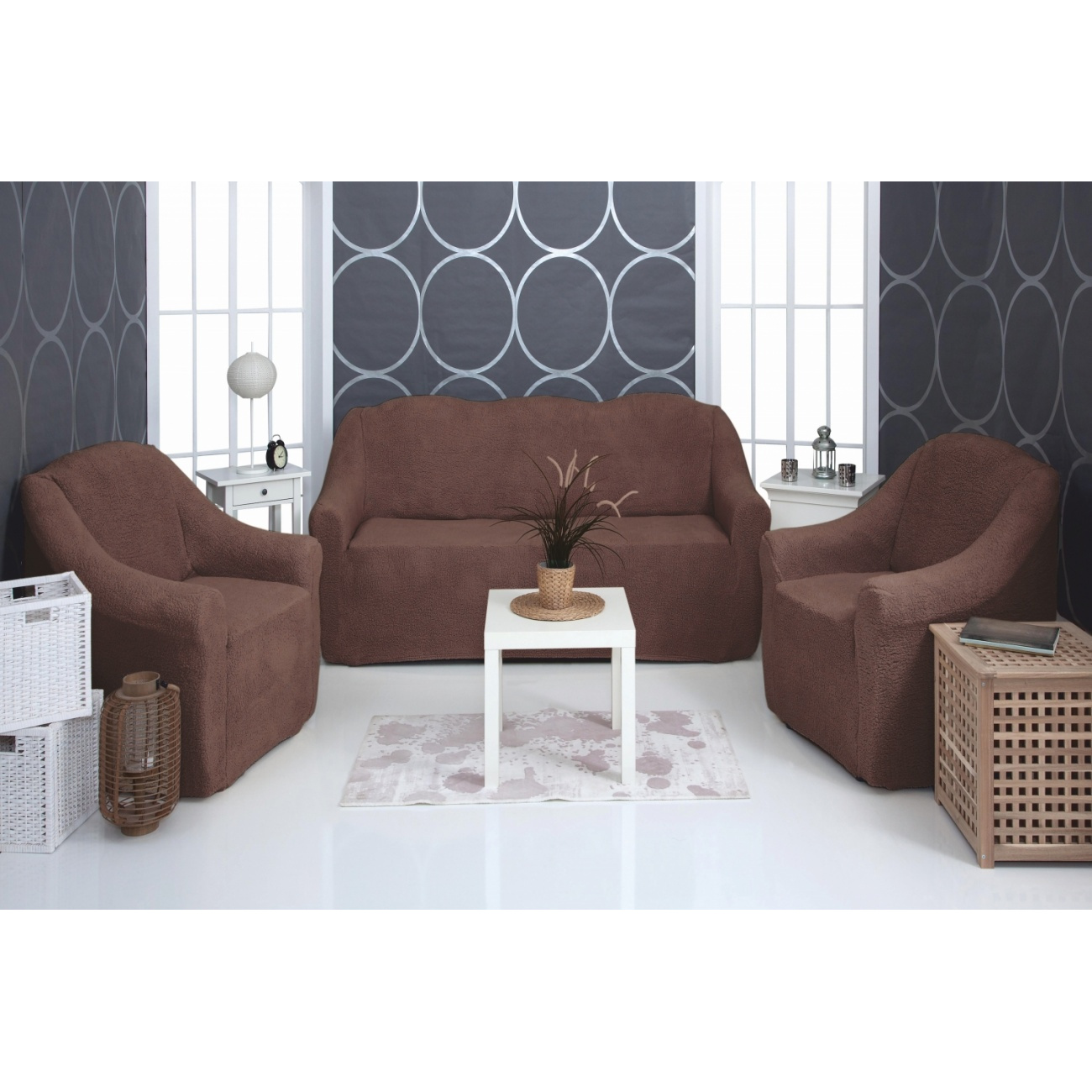 Комплект чехлов на диван и кресла Venera Soft sofa set, темно-коричневый, 3 предмета