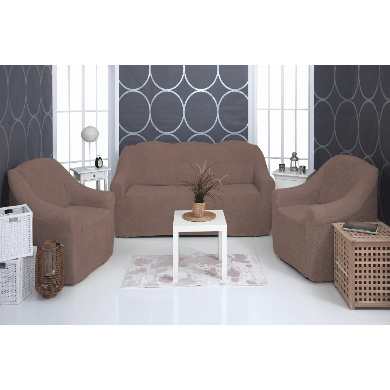 Комплект чехлов на диван и кресла Venera Soft sofa set, коричневый, 3 предмета