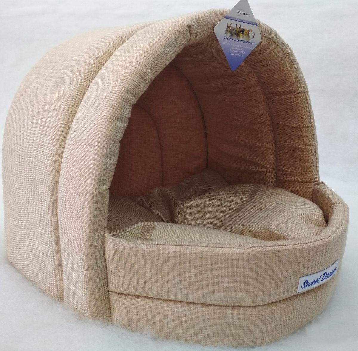 Домик для кошек и собак Бобровый Дворик Сладкий сон №1 эстрада, бежевый, 41x36x30см