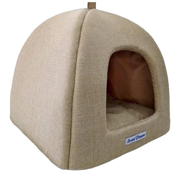 Домик для кошек и собак Бобровый Дворик Сладкий сон №1, бежевый, 39x35x39см