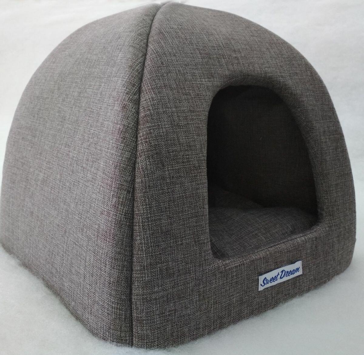 Домик для кошек и собак Бобровый Дворик Сладкий сон №1, серый, 39x39x35см
