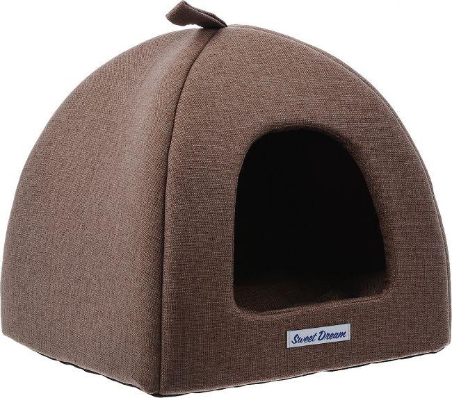 Домик для кошек и собак Бобровый Дворик Сладкий сон №1, коричневый, 39x39x35см