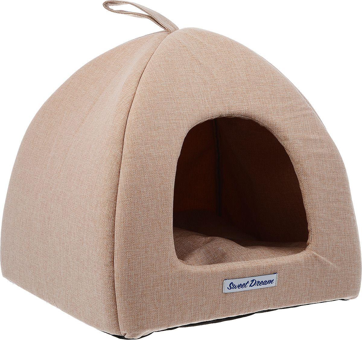 Домик для кошек и собак Бобровый Дворик Сладкий сон №1 светло-бежевый, 39x39x35см