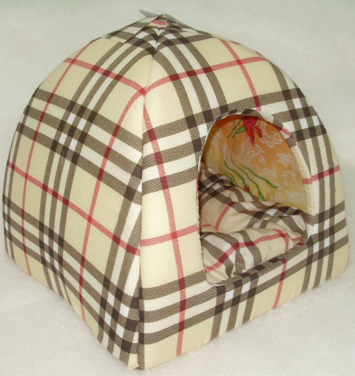 Домик для кошек и собак Бобровый Дворик Шотландка светлая №1, 39x39x35см