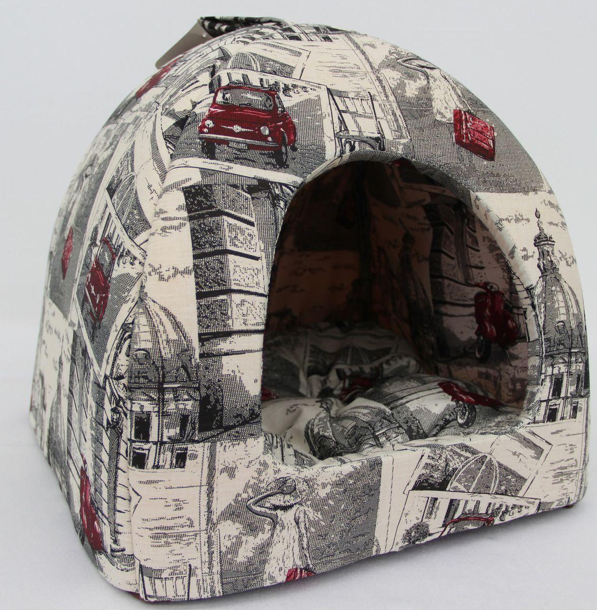 Домик для кошек и собак Бобровый Дворик Город №2, разноцветный, 42x38x42см