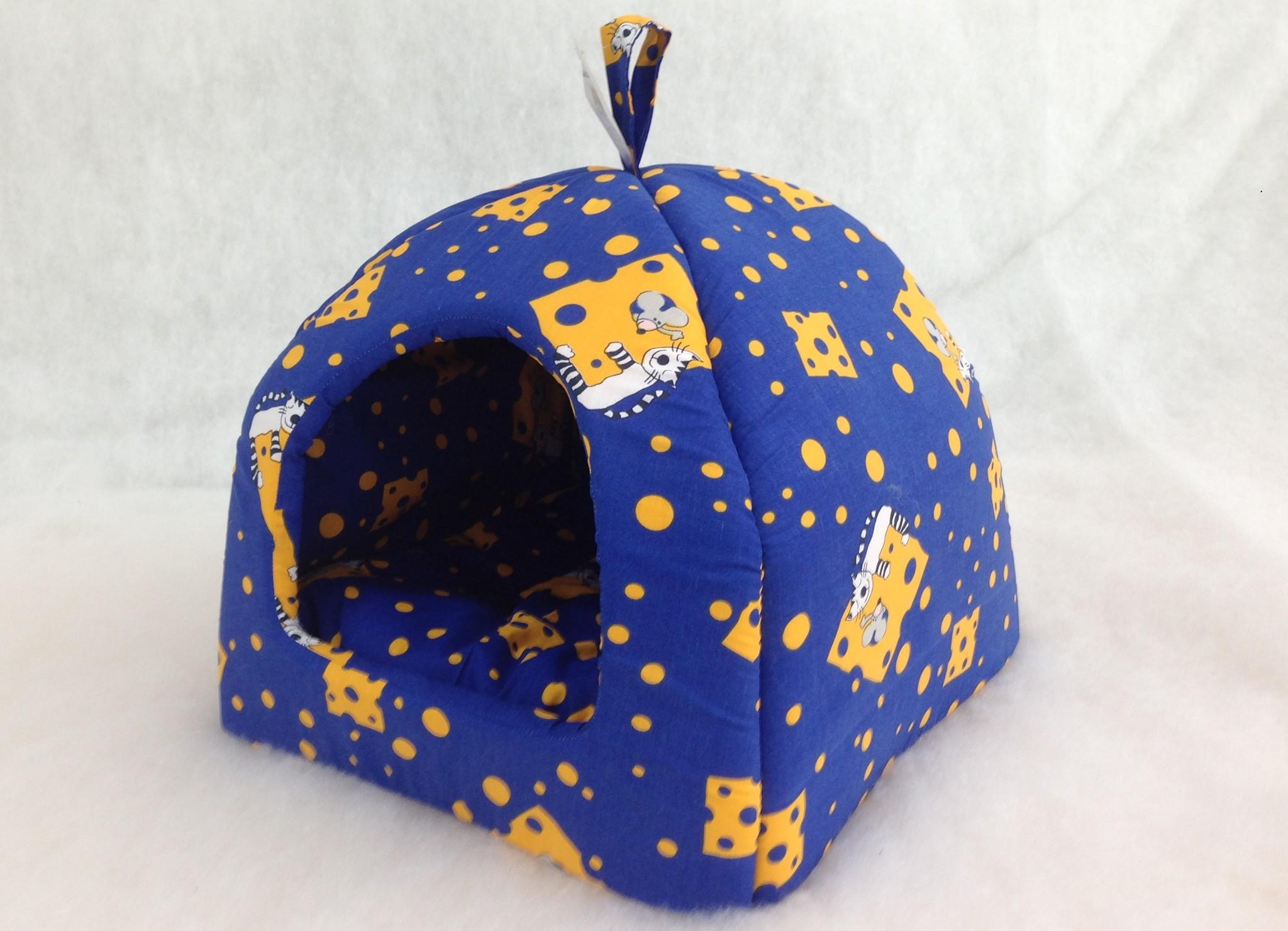 Домик для кошек и собак Бобровый Дворик Кошки №1, синий, 39x35x39см