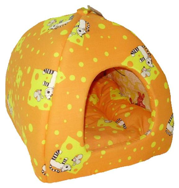Домик для кошек и собак Бобровый Дворик Кошки №2, желтый, 42x38x42см
