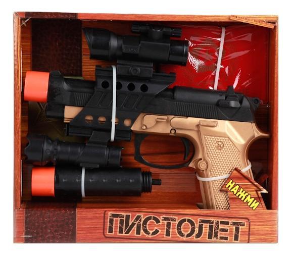 Пистолет игрушечный Играем Вместе на батарейках, со светом и звуком глушитель, фонарик фото