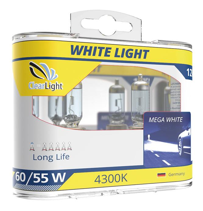 Лампа галогенная автомобильная Clearlight 55W WhiteLight 2 шт (MLH11WL) фото
