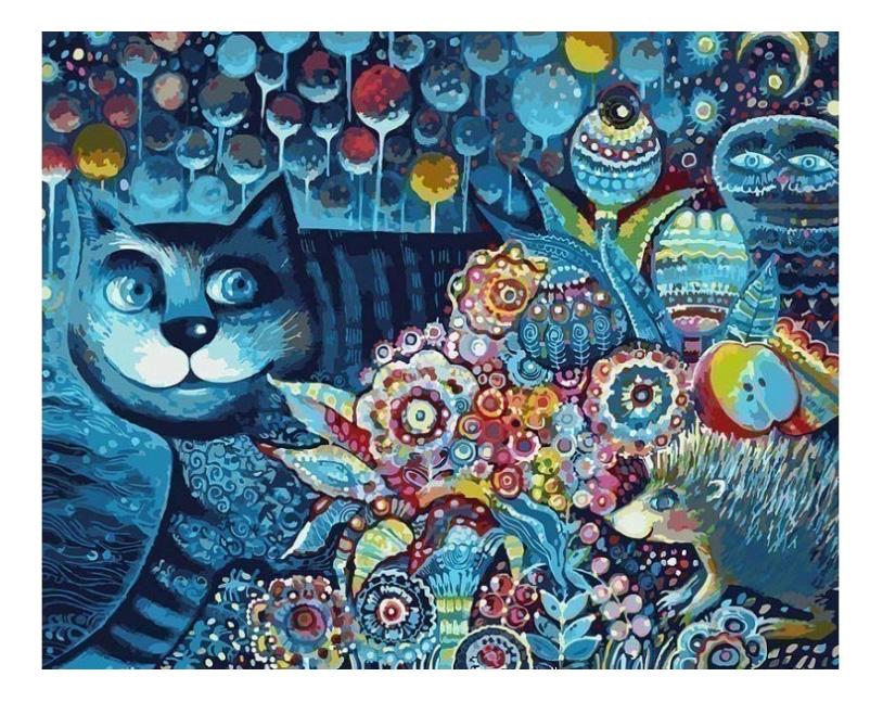 Раскраска по номерам Белоснежка Индиго кот