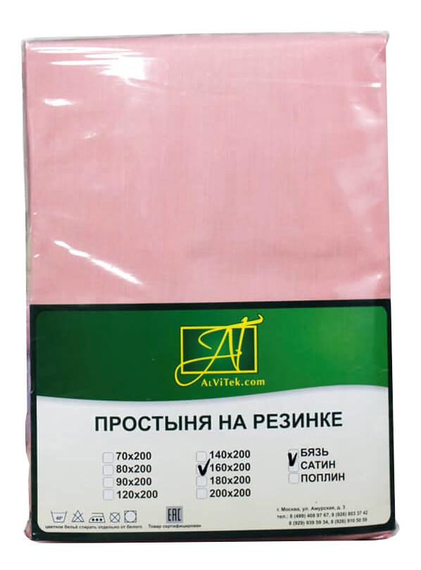 Простыня АльВиТек Бязь Импортная 180х200+25 см розовый
