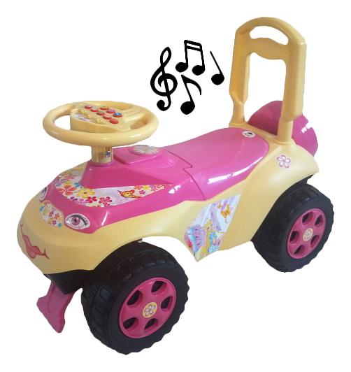 Купить Средняя, Каталка детская Doloni С музыкальным рулем розово бежевый, Машинки каталки