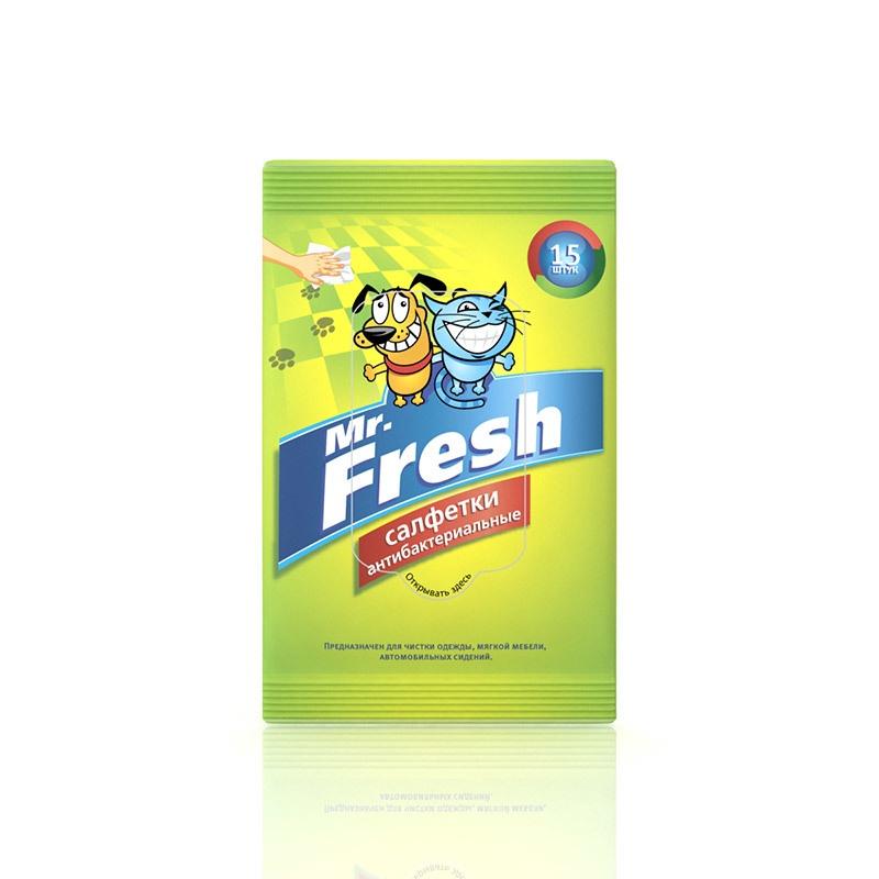 Влажные салфетки для кошек и собак Mr.Frеsh, антибактериальные, 15шт.