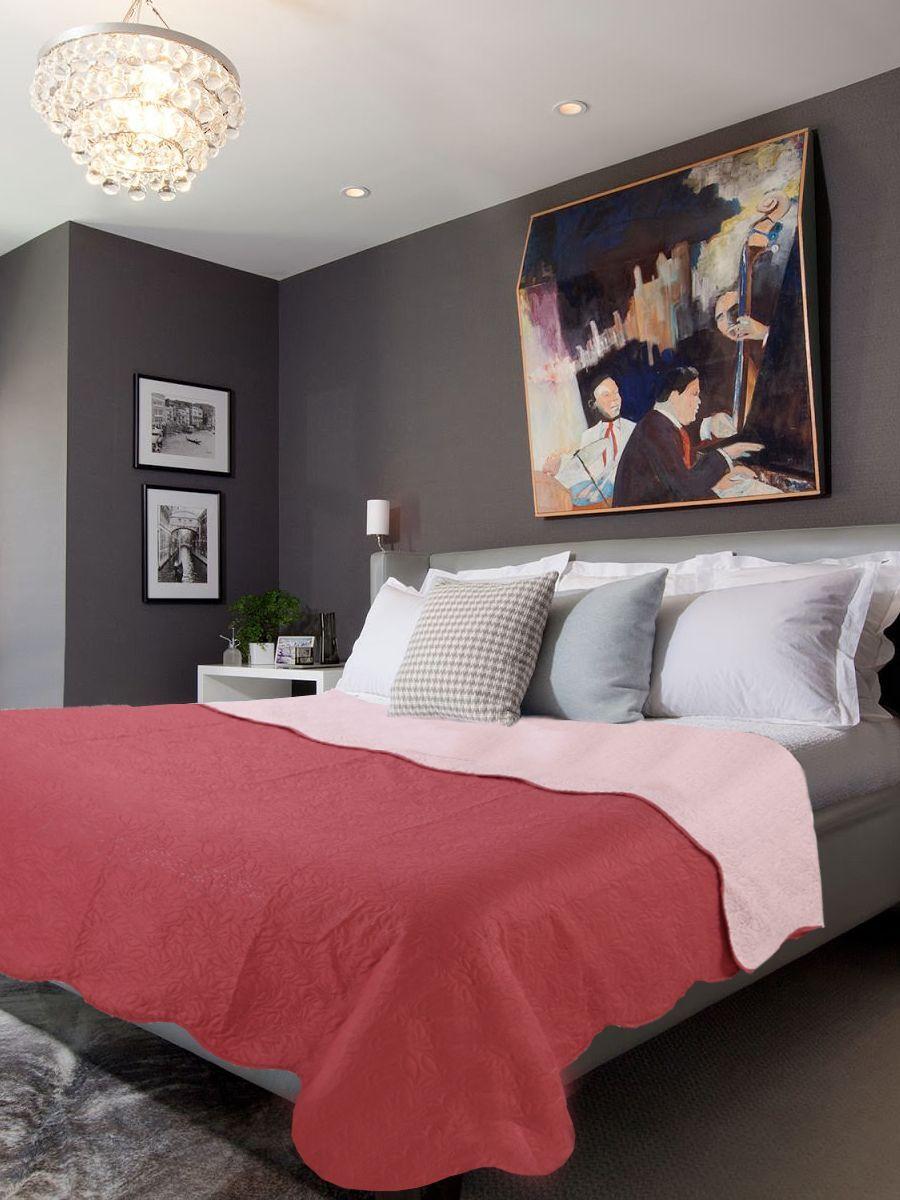 Покрывало Amore Mio Термостежка однотонная Ruby Микрофибра Евро Бордовый/розовый