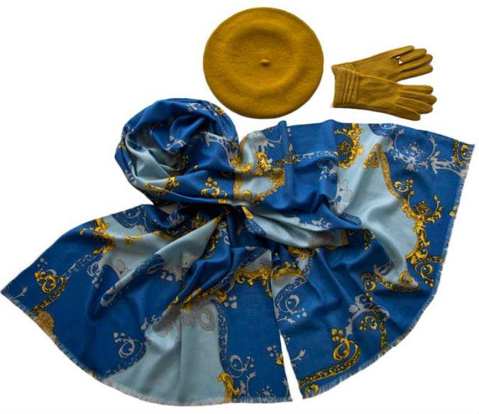 Комплект (берет, палантин, перчатки) Tonak/Tranini 45040 желтый фото