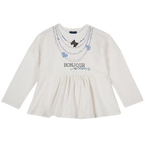 Купить 9006837, Лонгслив Chicco Bonjour для девочек р. 104 цв.белый, Футболки для девочек