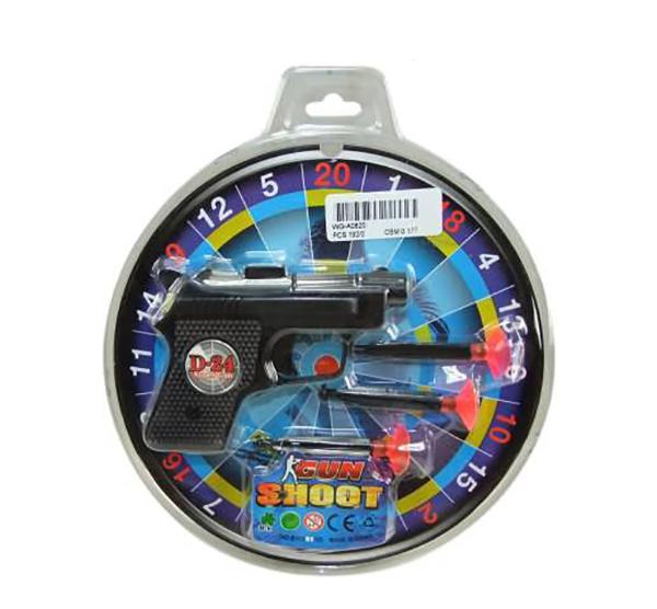 Пистолет с присосками и мишенью, пластмасса,