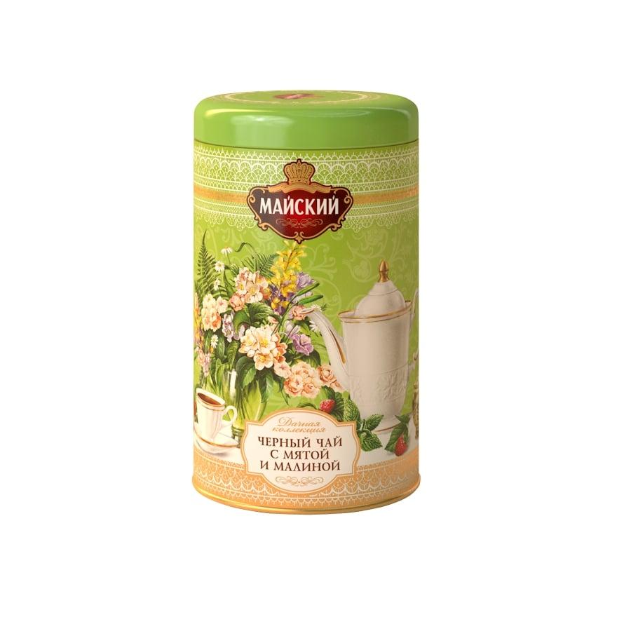 Чай листовой черный майский мята-малина Дачная Коллекция с добавками 80 г фото
