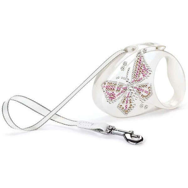Поводок-рулетка Flexi Glam Butterfly M, лента, для средних собак до 25 кг 5 м, Белый