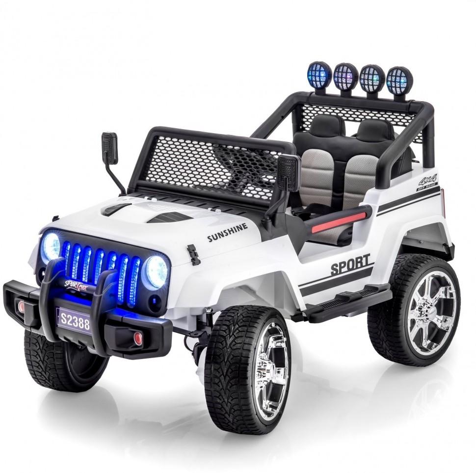 Купить Внедорожник, Электромобиль Little Sun двухместный полноприводный White Jeep 12V 2.4G - S2388-W,