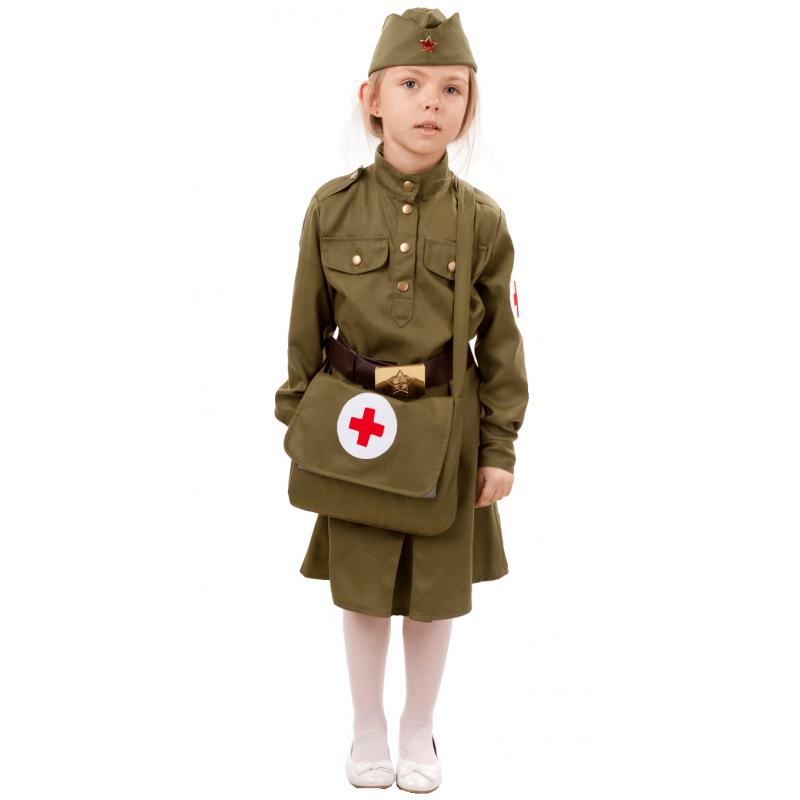 Карнавальный костюм Батик Военный, цв. зеленый р.134
