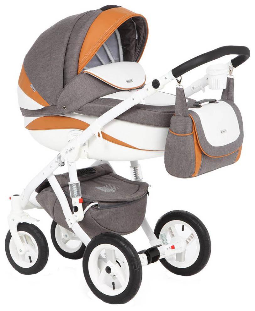 Купить Коляска 3 в 1 Adamex Barletta New Серый, Белый, Оранжевый B-24, Детские коляски 3 в 1
