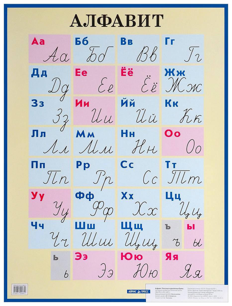 Купить Печатные и Рукописные Буквы, наглядное пособие для начальной Школы, Айрис-пресс, Подготовка к школе