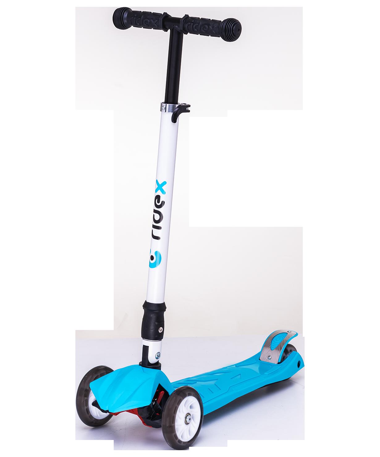 Купить Трёхколёсный самокат Ridex Smart 3D детский синий складной со светящимися колёсами, Самокаты детские трехколесные