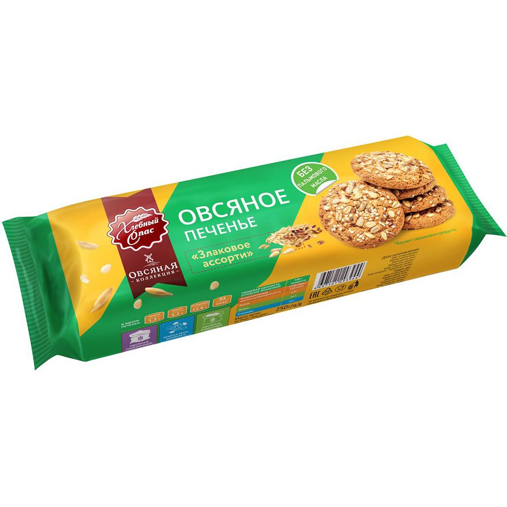 Печенье Хлебный Спас сдобное овсяное злаковое ассорти 250 г
