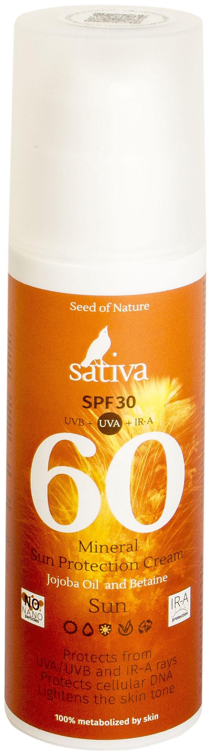 Солнцезащитное средство Sativa №60 Минеральный 150 мл