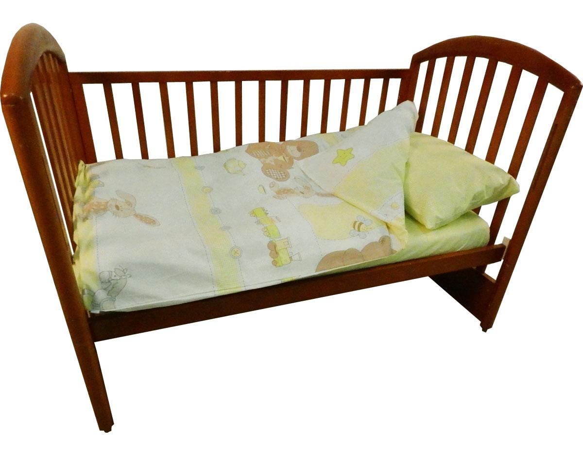 Детское постельное белье Папитто 147*112 простыня на резинке Игрушки салатовый 6046