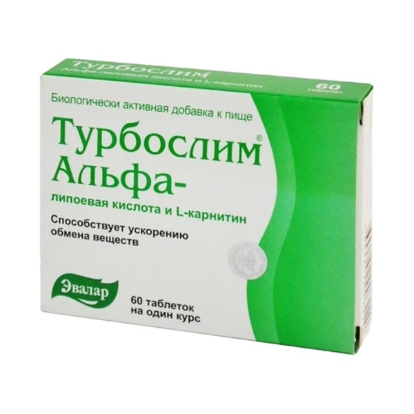 Купить Турбослим альфа-липоевая кислота и L-карнитин, Турбослим Эвалар альфа-липоевая кислота, L-карнитин таблетки 60 таблеток шт.