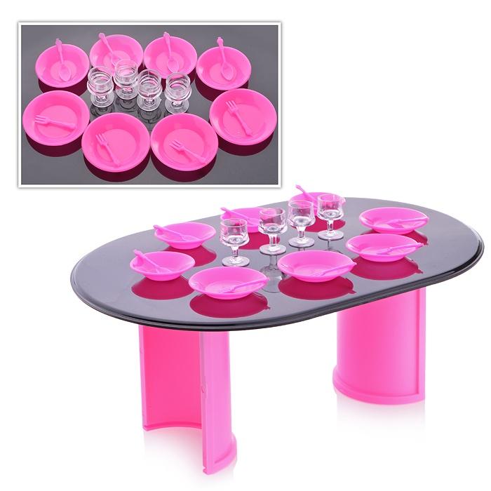 Купить ОГОНЕК Игровой набор Стол с аксессуарами розовый с-1390, Огонек, Аксессуары для кукол