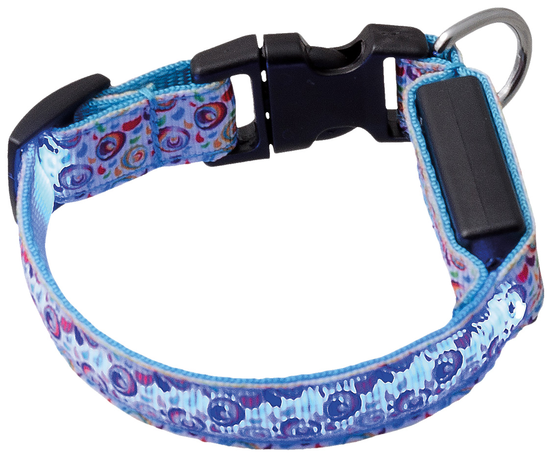 Ошейник для собак V.I.Pet Акварель, светящийся с USB-зарядкой, синий, 18-28 см x 15 мм