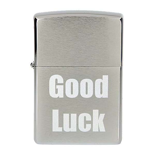 Бензиновая зажигалка Zippo №200 Good Luck Brushed Chrome