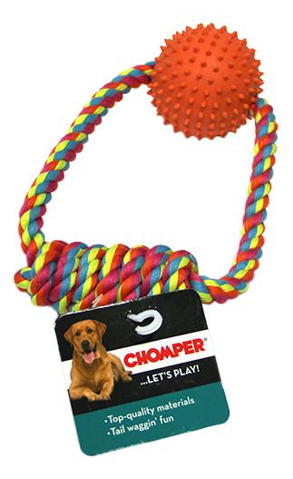 Грейфер для собак Chomper Тяни-толкай мяч с ручкой из каната фото