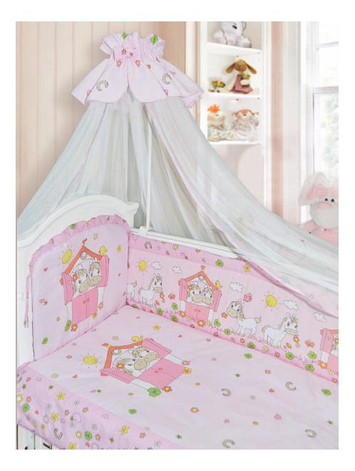 Комплект в кроватку Золотой гусь Лошадки 7 предметов розовый