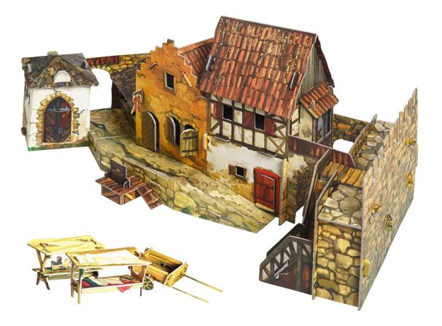 Модель для сборки Умная бумага Средневековый город: Городская площадь. Рынок фото
