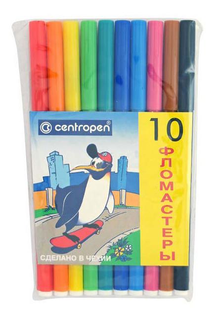 Фломастеры Centropen Пингвины 10 цветов