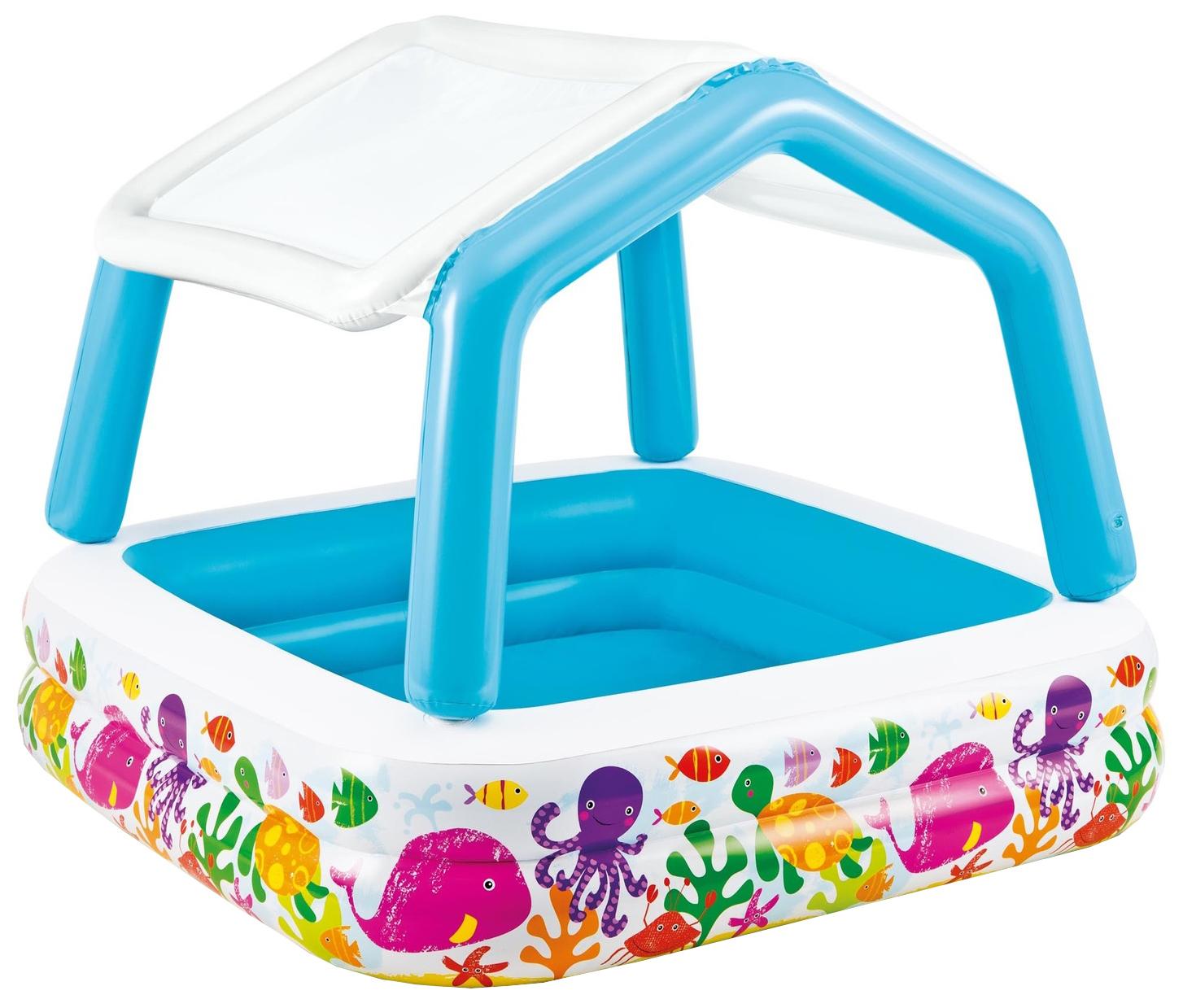 Купить Бассейн надувной INTEX Домик с навесом 157x157x122 см (57470), Детские бассейны