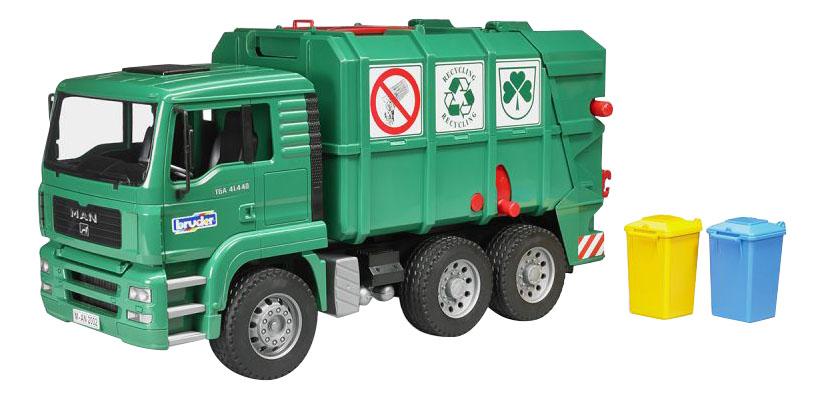 Купить Машина спецслужбы Bruder Мусоровоз MAN TGA зеленый, Игрушечный транспорт Bruder