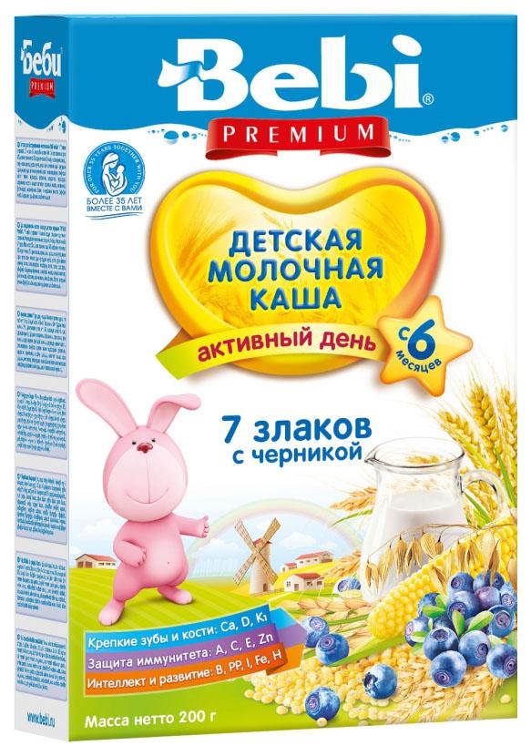Купить 7 злаков с черникой 200 г, Молочная каша Bebi 7 злаков с черникой с 6 мес 200 г, Детские каши